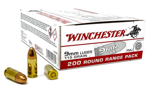 Winchester 9mm - 115 Grain - Full Metal Jacket- 1000 Rounds - Brass Case