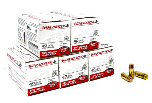 Winchester 40 S&W 165 Grain Full Metal Jacket - 500 Rounds - Brass Case