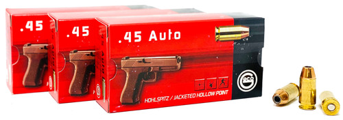 Geco 45 ACP 230 Grain Jacketed Hollow Point - 250 Rounds W/ Free Ammo Can - Brass Case