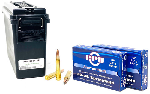 Prvi Partizan 30-06 Springfield 150 Grain Soft Point - 100 Rounds W/ Free Can - Brass Case