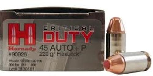 Hornady Critical Duty Ammunition 45 ACP +P 220 Grain FlexLock - 200 Rounds - Case