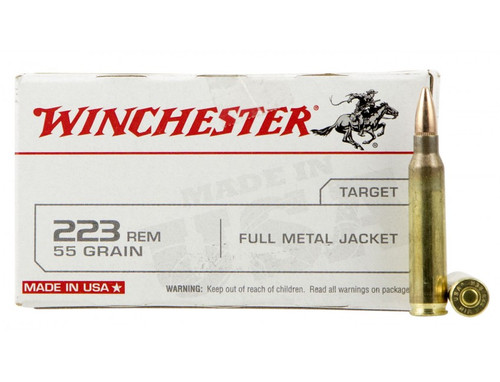 Winchester 223 Remington 55 Grain Full Metal Jacket - 500 Rounds - Brass Case