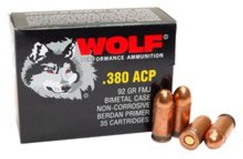 Wolf Performance 380 Auto - 92 Grain Full Metal Jacket - 350 Rounds W/ Free Ammo Can - Steel Case