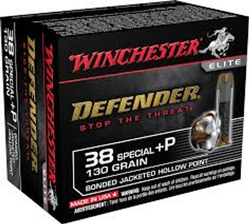 Winchester 38 Special +P - 130 Grain Hollow Point PDX Defender - 200 Rounds - Brass Case