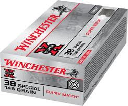 Winchester 38 Special Super Match - 148 Grain Lead-Wad Cutter - 500 Rounds - Brass Case