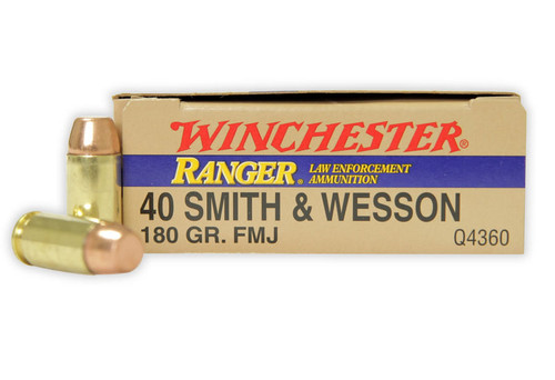 Winchester 40 S&W 180 Grain Full Metal Jacket -  500 Rounds - Brass Case