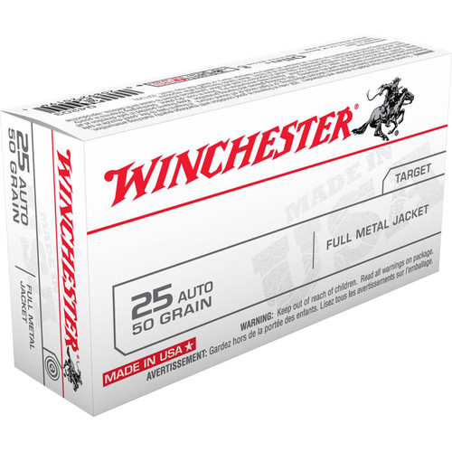 Winchester 25 Auto - 50 Grain Full Metal Jacket - 500 Rounds - Brass Case