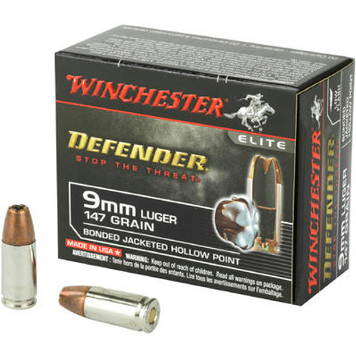 Winchester 9 mm - 147 Grain Bonded Hollow Point PDX1 - 200 Rounds - Brass Case
