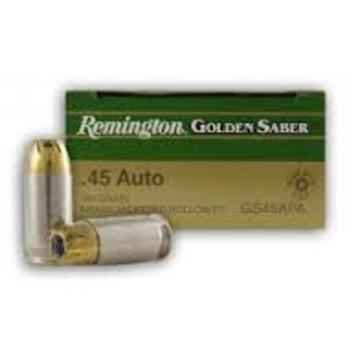 Remington Golden Saber 45 Auto 185 Grain Jacketed Hollow Point - 200 Rounds W/ Ammo Can - Brass Case