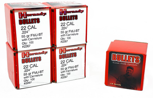 "Hornady Bullets .224"" 55 Grain FMJ-BT WC - 500 Projectiles"
