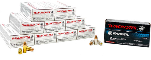 Winchester 9 mm Luger - 124 Grain Full Metal Jacket - 450 Rounds & Winchester 9 mm - 127 Grain +P+ Hollow Point T-Series - 50 Rounds - Brass Case