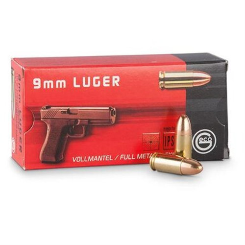 Geco 9mm Luger 115 Grain Full Metal Jacket - 500 Rounds W/ Ammo Can - Brass Case
