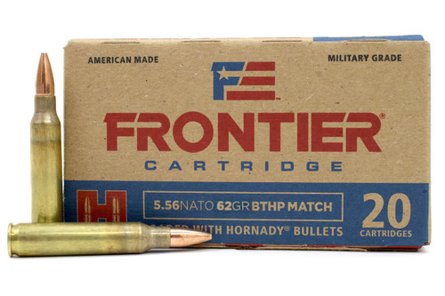 Frontier Cartridge Military Grade 5.56x45mm NATO 62 Grain  Boat Tail Hollow Point Match - 500 Rounds - Brass Case