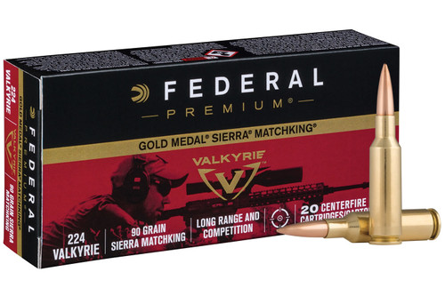 Federal Gold Medal 224 Valkyrie - 90 Grain Sierra MatchKing Hollow Point - 200 Rounds - Brass Case