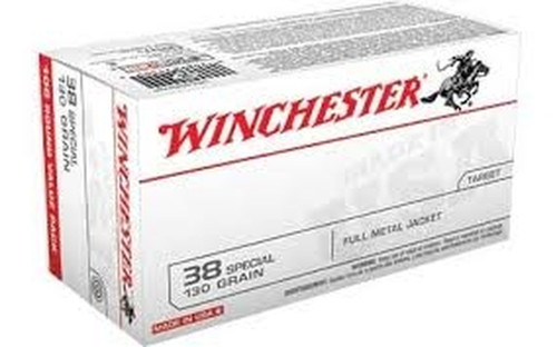 Winchester  38 Special 130 Grain Full Metal Jacket - 500 Rounds  - Brass Case