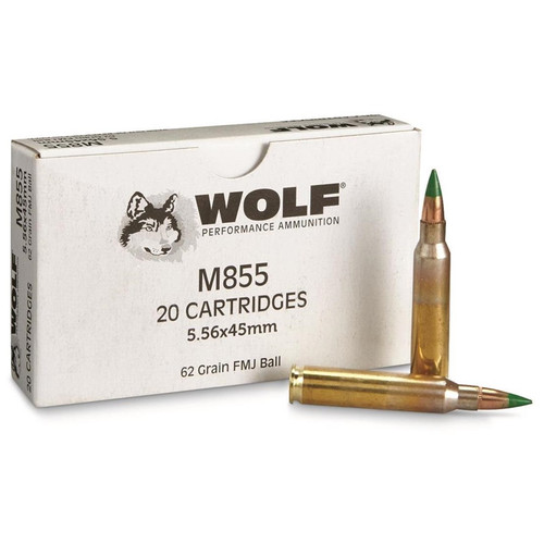 Wolf Ammunition 5.56x45 MM NATO M855  62 Grain Full Metal Jacket - 500 Rounds W/ Ammo Can - Brass Case
