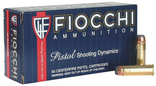 Fiocchi - 44 Magnum 240 Grain Jacketed Soft Point - 250 Rounds W/ Ammo Can - Brass Case