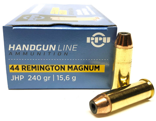 Prvi Partizan - 44 Magnum - 240 Grain Jacketed Hollow Point - 250 Rounds W/ Ammo Can - Brass Case