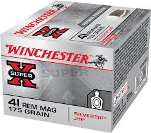 Winchester Ammunition 41 Rem Magnum - 175 Grain Silver tip Jacketed Hollow Point - 200 Rounds - Case
