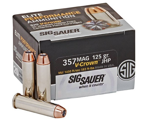 Sig Sauer Elite Performance 357 Magnum 125 Grain V-Crown Jacketed Hollow Point  - 200 Rounds - Brass Case