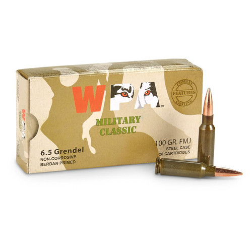 Wolf Performance Ammunition 6.5 Grendel - 100 Grain Full Metal Jacket - 200 Rounds W/ Ammo Can - Steel Case
