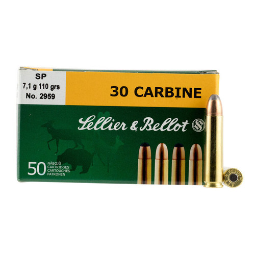 Sellier & Bellot Ammunition 30 Carbine 110 Grain Jacketed Soft Point - 250 Rounds W/ Ammo Can