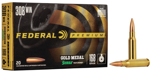 Federal Gold Metal Ammunition - 308 Win Match - 168 Grain Sierra MatchKing Boat Tail Hollow Point - 200 Rounds - Case