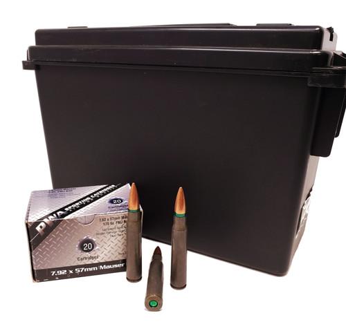 PWA Ammunition 7.92x57 MM (8Mauser) - 170 Grain Full Metal Jacket - 200 Rounds W/ Ammo Can - Steel Case