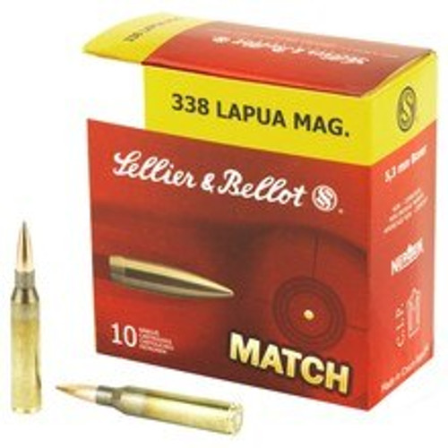 Sellier & Bellot Ammunition - 338 Lapua Magnum Match - 250 Grain Hollow Point Boat Tail - 50 Rounds W/ Ammo Can