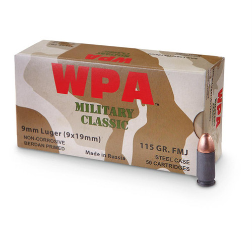 Wolf Military Classic Ammunition 9MM - 115 Grain Full Metal Jacket - 500 Rounds - Steel Case