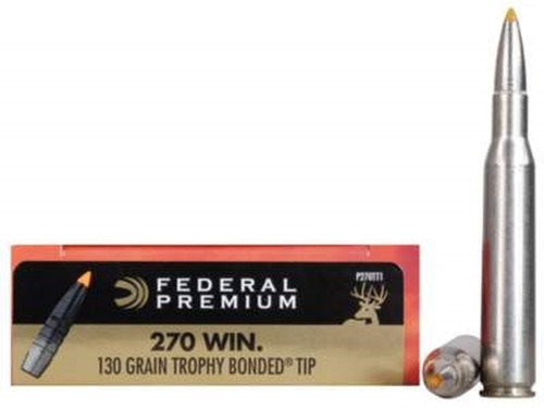 Federal Premium Ammunition - 270 Winchester - 130 Grain Trophy Bonded Tip - 200 Rounds - Case