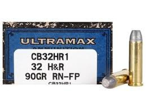 UltraMax Ammunition - 32 H&R Magnum - 90 Grain Round Nose Flat Point - 50 Rounds W/ Ammo Can