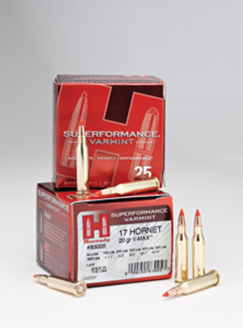 Hornady Superformance Varmint Ammunition - 17 Hornet - 20 Grain V-Max - 250 Rounds - Case