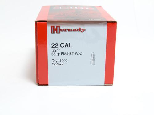 "Hornady Bullets .224"" 55 Grain FMJ-BT WC - 1000 Projectiles"