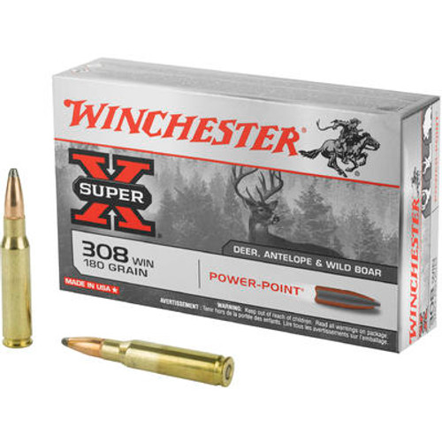 Winchester Super-X Ammunition - 308 Winchester - 180 Grain Power Point - 200 Rounds - Case