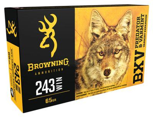 Browning Ammunition - 243 Winchester - 65 Grain BXV Varmint Expansion - 200 Rounds - Case