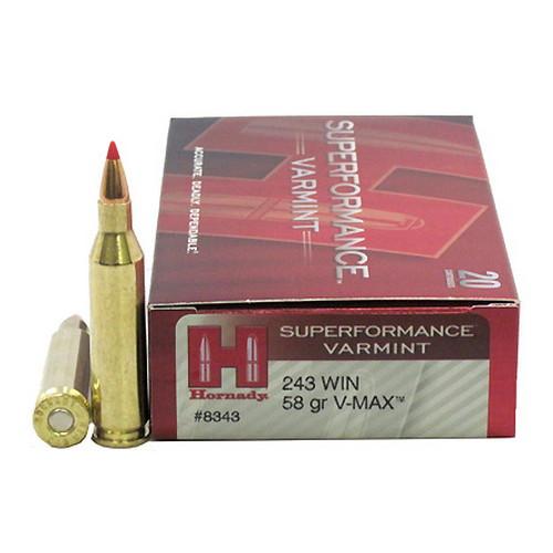 Hornady Superformance Varmint Ammunition - 243 Winchester - 58 Grain V-Max - 200 Rounds - Case