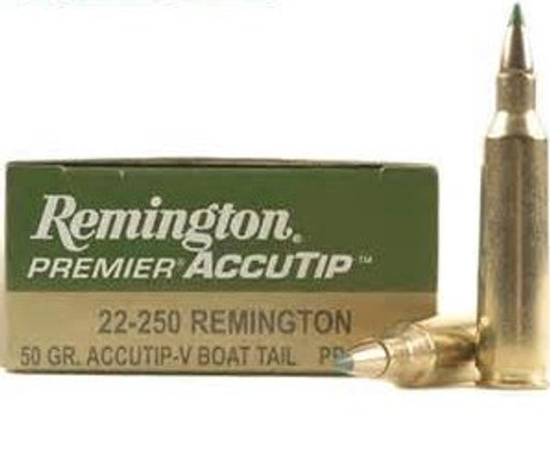 Remington Premier Accutip Ammunition - 22-250 Remington - 50 Grain Accutip-V Boat Tail - 200 Rounds - Case