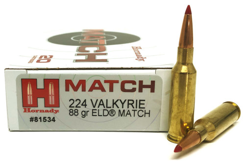 Hornady Match Ammunition - 224 Valkyrie - 88 Grain ELD Match - 200 Rounds - Case