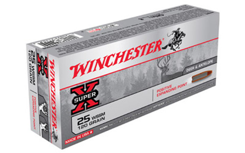 Winchester Super-X Ammunition - 25 WSSM - 120 Grain Positive Expanding Point - 60 Rounds W/ Free Ammo Can