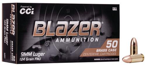 CCI Blazer Ammunition - 9 MM - 124 Grain Full Metal Jacket - 1000 Rounds - Case