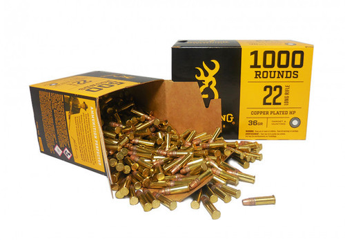 Browning Ammunition - 22 Long Rifle - 36 Grain Copper Plated Hollow Point - 2000 Rounds - Case
