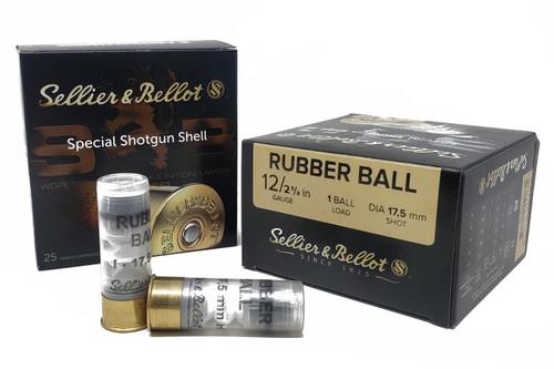 "Sellier & Bellot Ammunition - 12 Ga - 2 5/8"" - Rubber Ball - 50 Rounds W/ Ammo Can"