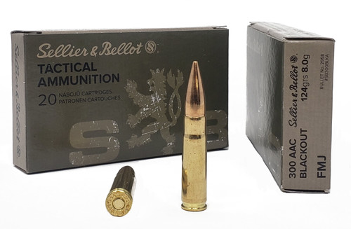 Sellier & Bellot Ammunition - 300 AAC Blackout - 124 Grain Full Metal Jacket - 400 Rounds W/ Ammo Can