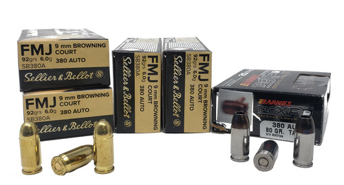 Combo Pack (FMJ/HP) Sellier & Bellot Ammunition - 380 Auto - 92 Grain Full Metal Jacket - 200 Rounds- Barnes Ammunition - 380 Auto - 80 Grain TAC-XPD - 20 Rounds - W/ Ammo Can