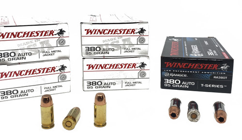 Combo Pack (FMJ/HP) Winchester USA - 380 ACP - 95 Grain Full Metal Jacket - 200 Rounds - Winchester Ranger - 380 Auto - 95 Grain Ranger T-Series - 50 Rounds - W/ Ammo Can