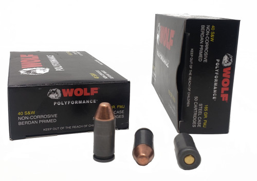 Wolf Performance Ammunition - 40 S&W - 165 Grain Full Metal Jacket - 500 Rounds - Steel Case