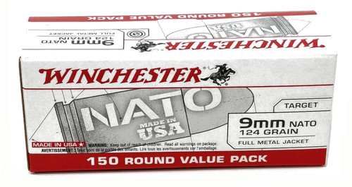 Winchester  NATO  9mm Luger 124 Grain Full Metal Jacket - 300 Rounds W/ Free  Ammo Can - Brass Case