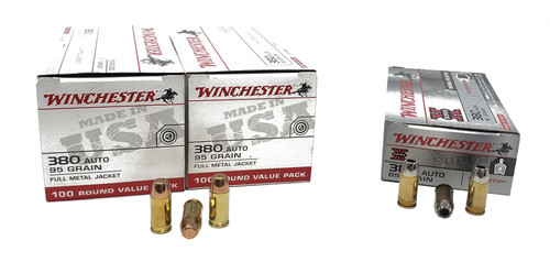 Combo Pack (FMJ/HP) Winchester  380 Auto - 95 Grain Full Metal Jacket - 200 Rounds - Winchester Super-X - 380 ACP - 85 Grain Silvertip Hollow Point - 50 Rounds - W/ Ammo Can