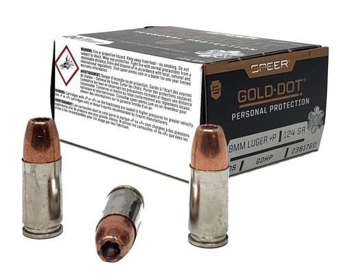 Speer Gold Dot Ammunition - 9 MM Luger +P - 124 Grain Hollow Point - 200 Rounds - Case